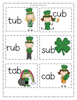 St. Patrick's Day -ab, -ob, -ub Write the Room/Word Sort