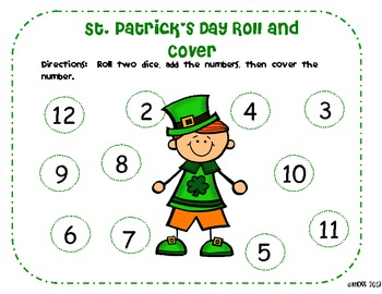 St. Patrick's Day and March Roll and Cover Math Game
