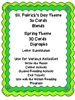 St. Patricks Day Spring Read and Write  the Room Activities Blends and Digraphs