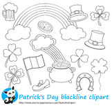 St. Patrick's Day blackline clipart digital stamp,line art,coloring