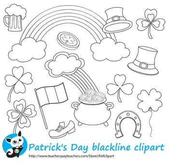 St. Patrick's Day blackline clipart digital stamp,line art,coloring