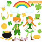 St Patricks Day clip art Scrapbook Irish, clover Leprechaun kids Vector Graphics