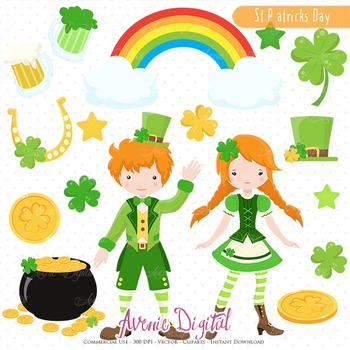 St Patricks Day clip art Scrapbook Irish, clover Leprechaun kids Vector Graphics