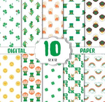 St Patricks Day, digital paper, Green digital paper, scrapbook paper