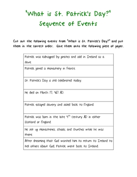 St. Patrick's Day- history, cause & effect, fact & opinion, sequence