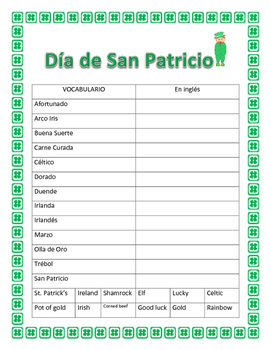 Spanish St Patrick's Day- Word Search and Double Puzzle & Vocabulary Worksheet