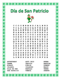 Distance Learning- Spanish St Patrick's Day-Word Search/Puzzle & Vocabulary