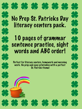 St. Patricks Day literacy center bundle. No prep printables