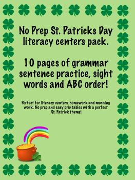 St. Patricks Day literacy center bundle. No prep printables