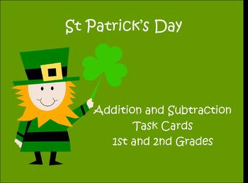 St Patrick's Day math activities 1st 2nd task cards