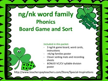St. Patrick's Day -ng and -nk Word Families Literacy Centers