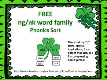 St. Patrick's Day -nk and -ng Word Family Sorting Activiti