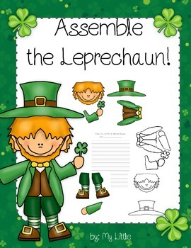 St. Patrick's Day craft/project and writing sheets (assemble the leprechaun)