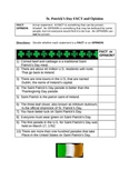 St. Patrick's Day reading and language arts