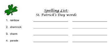 St. Patrick's Day spelling list