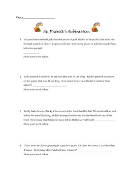 St. Patrick's Day subtraction word problems Common Core al