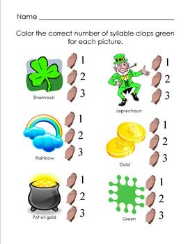 St. Patrick's Day- syllable review sheet
