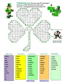St. Patrick's Day three-leaf clover Word-Search Puzzle for fun in Biology