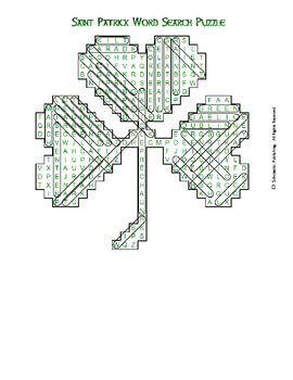 St. Patrick's Day three-leaf clover word search for fun in all classes