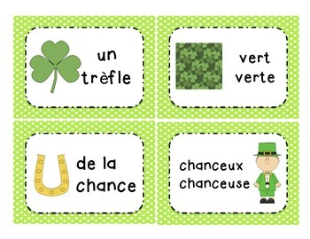Le jour de Saint Patrick - St. Patrick's Day vocabulary cards