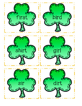 St. Patrick's Day word sort, (oi,oy, ou, ow,ir, er, ur, dge, ge)