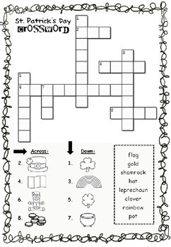 St. Patrick's Day wordsearch, crossword and coloring pages