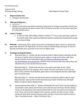 St. Patrick's Day writing lesson plan