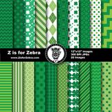 St Patrick's Digital Paper Pack - Commercial Use OK! ZisforZebra