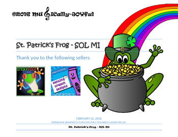 St. Patrick's Frog SOL MI Compose Dictate and Color by Note