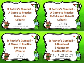 St Patrick's Gumball - A 3 Game Bundle to Practice Rhythm (2 bars)