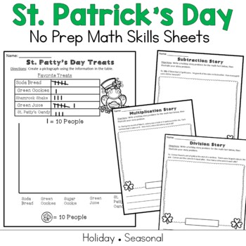 St Patricks Day Math Multiplication, Division, Graphing, Story Problems