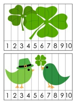 St. Patrick's Number Counting Strip Puzzles - 5 Different Designs