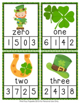 St Patricks Number Words Clip Cards