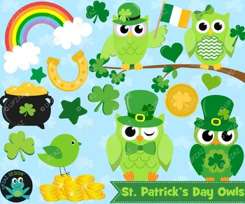 St Patricks Owl Clipart, Instant Download, Commercial Use - UZ885