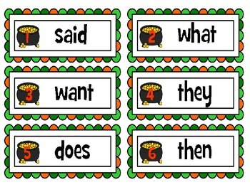 St. Patrick's Sight Word Write and Graph Room.  (Wonders Reading Words)