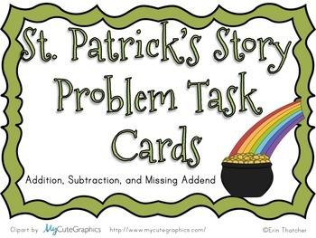 St. Patrick's Story Problem Task Cards