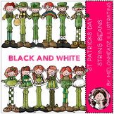 St Patricks Day clip art - String Beans - BLACK AND WHITE- by Melonheadz