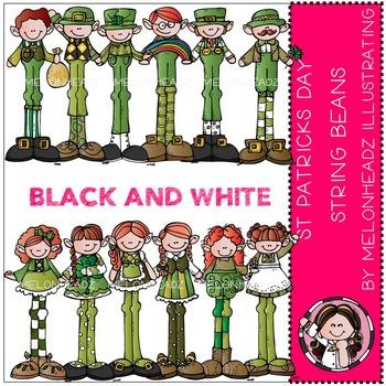 St Patricks String Beans by Melonheadz BLACK AND WHITE