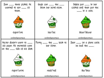 St. Patrick's Synonym, Antonym, and Homophone Cupcakes