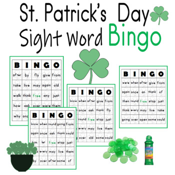 Sight Words St. Patrick's Day Bingo Sheets for 1st Grade Dolch Words