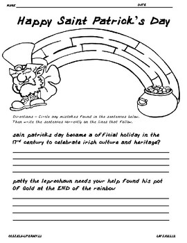 St Patricks day Conventions of English Language Edit and Activity
