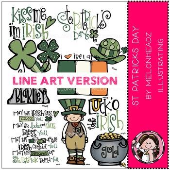 St Patrick's day clip art - LINE ART - by Melonheadz