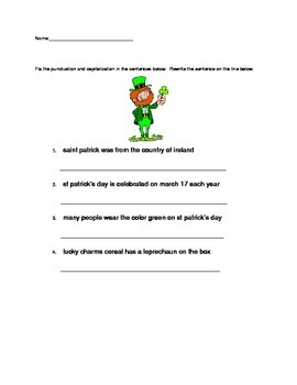 St. Patrick's day facts Punctuation and Capitalization Fix It Up worksheet