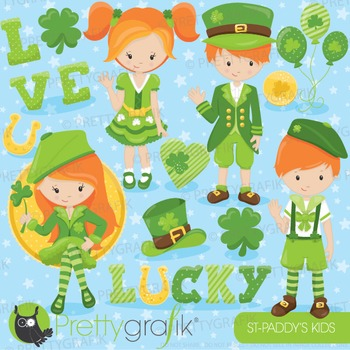 St-Patrick's kids clipart commercial use, vector graphics, digital - CL816
