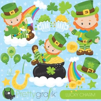 St-Patrick's leprechaun clipart commercial use, vector gra