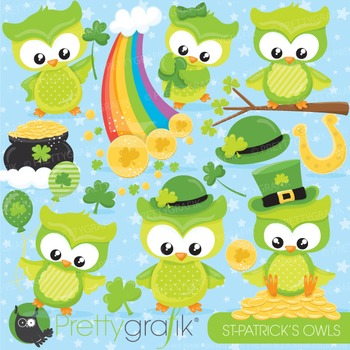 St-Patrick's owl clipart commercial use, vector graphics, digital - CL814