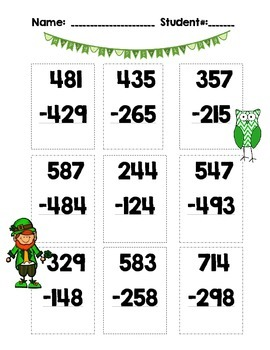 St. Patrick'sDay Printable Math Practice Addition Subtraction