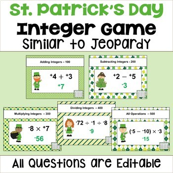 St. Patrick's Day Integer Game - Similar to Jeopardy