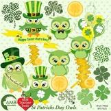 St. Patricks Day Clipart, Owl Clipart, Owls Clip Art, AMB-825