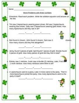St. Patty Themed Word Problems with addition of 3 numbers